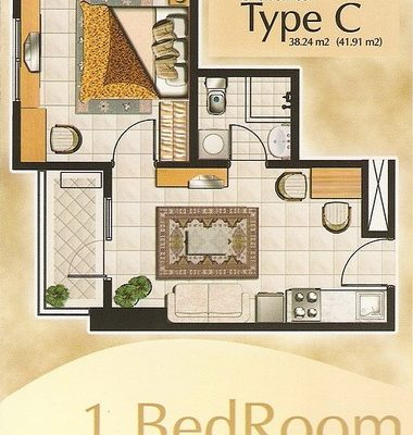 1 Br Type L Floor Plan Layout Thamrin Residence