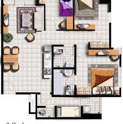 3 Br Floor Plan Layout Thamrin Residence
